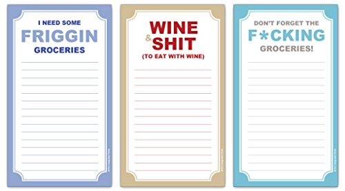 Funny Magnetic Grocery Lists - Wine, Shit, Friggin, Fcking Gag Gift -