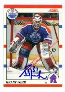 Autograph Warehouse 71279 Grant Fuhr Autographed Hockey Card Edmonton Oilers 1990 Score No. 275 Canadian
