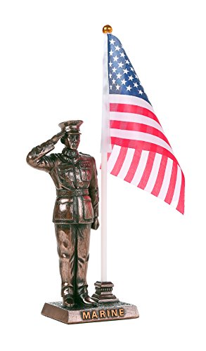 (Pacific Giftware USMC Cold Cast Bronze Marine Officer Salute Stars and Stripes Honoring America's Finest Desktop Pen Holder Decorative Figurine)