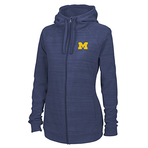 LH07 - Michigan Wolverines Primary Logo Left Chest Ladies Heron Hoodie - X-Large - Blue - Fashion Primary Logo