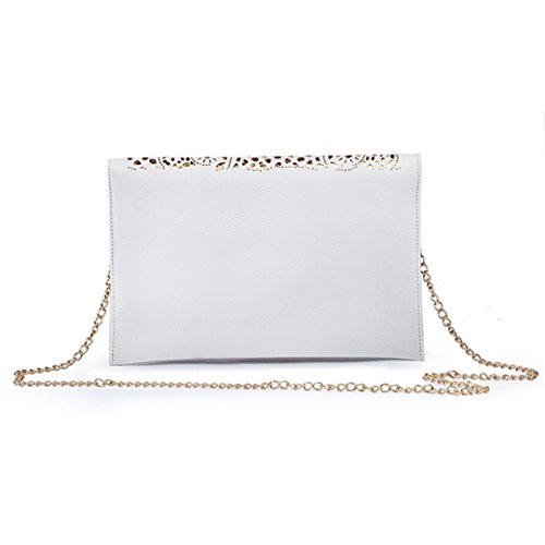 Flower Hollow Handbag Chain Evening White Women's Leather Bag Shoulder Pu Out Envelope Bag Tote Clutch Meliya EBw5qzw