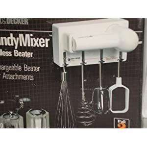 Handy Cordless Beater Mixer Set, Counter or Wall Mount, 4 Attachments