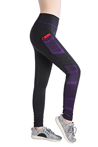 Annjoli Women's Workout Leggings Yoga Running Pants with Pockets (L, Black/Purple)