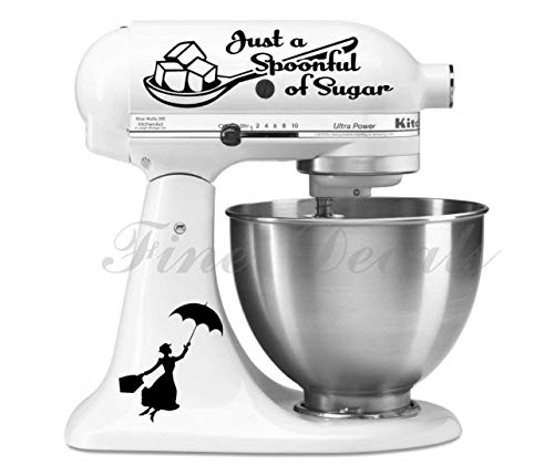 Spoonful of Sugar Poppins Vinyl Decal Set For Kitchen Mixer Bake Poppins Home Decor