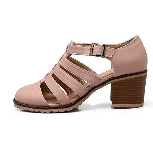 Balamasa Womens Ihåliga Ut Spänne Imiterade Läder Pumpar-skor Rosa