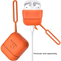 Airpods Case, Shock Resistant Premium Silicone Sleeve Protective Cover Skin Portable with Anti-Lost Lanyard for Apple Airpods Charging Case-Orange