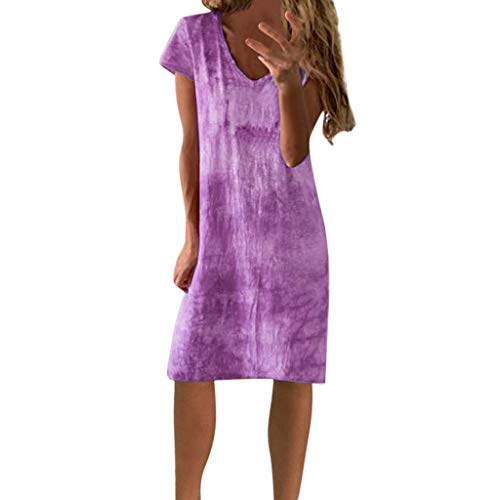 LIM&Shop  Summer Shirt Dress Casual Mini Dress Short Sleeves Printed Crew Neck T-Shirt Knee-Length Skirt Gradient Top Purple ()