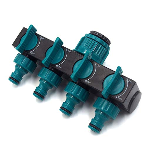 4 Way Hose Splitter Connector Lawn Care Watering Hose Faucet Splitter with 4 Separate Valves - Green + Black