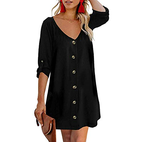 ✔ Hypothesis_X ☎ Women's Roll Tab 3/4 Sleeve V Neck Dress Button Down Dress Casual Flowy Mini Tunic Dress Black