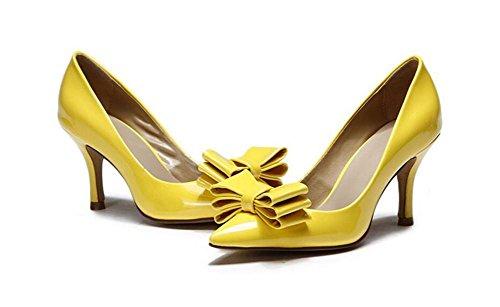 XIE Yellow 41 Charol de Solo de Altos Fino Zapatos Nudo Tacones YELLOW Mujer Zapatos Bow 40 A1O7wAHxrq