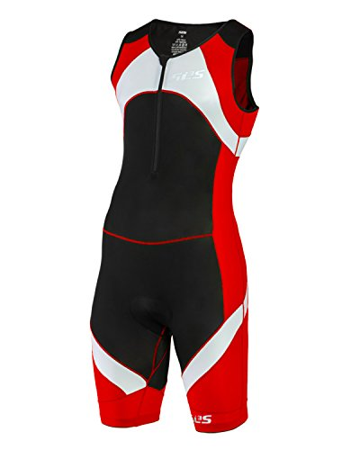 SLS3 Mens Triathlon Tri Race Suit 1 Pocket Skinsuit Trisuit - great from Sprint to Ironman (Red, XXL)