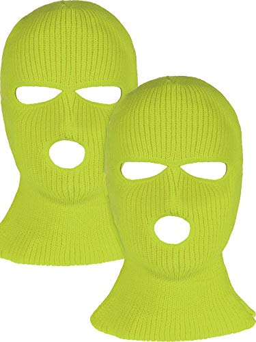2 Pieces 3-Hole Ski Mask Knitted Face Cover Winter Balaclava Full Face Mask for Winter Outdoor Sports (Yellow)