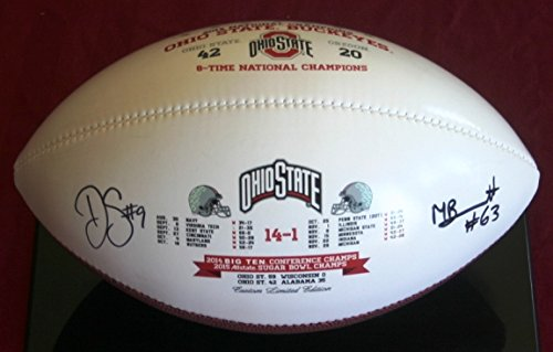 Michael Bennett and Devin Smith Autographed Ohio State Buckeyes Souvenir Footballs Michael Bennett and Devin Smith Autographed National Championship Souvenir Footballs (Bennett Football Autographed)