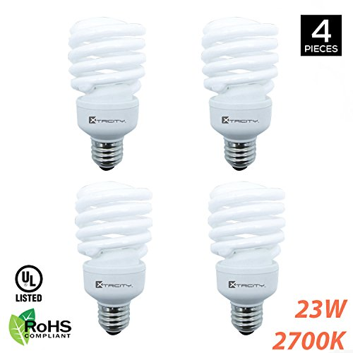 Compact Fluorescent Light Bulb T2 Spiral CFL, 2700K Soft White, 23W (100 Watt Equivalent), 1600 Lumens, E26 Medium Base, 120V, RoHS Compliant and UL Listed (Pack of 4) (White Incandescent Eiko Bulb Light)