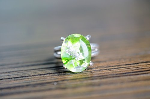 Oval Peridot Sterling Silver Glass cremation memorial ring Eden