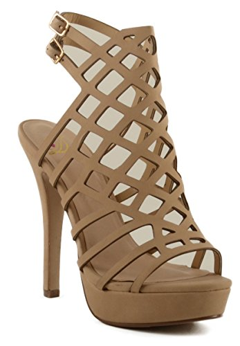 Women's Delicious Merry Cross Design Platform Stiletto Heel w/ Double Back Strap (7.5, (Double Back Strap)
