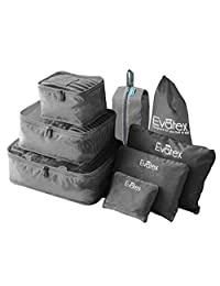 Evatex Packing Cubes - 8 psc Set Travel Packing Cubes, Waterproof, Shoe Bag, cosmetics/Laundry Bag (Gray)