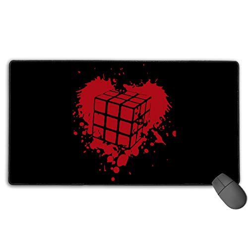 (LNUO-2 Large Gaming Mouse Pad/Mat, Rubiks Cube Heart Custom Mouse Pads with Non-Slip Rubber Base for Typist Office, Durable Stitched)