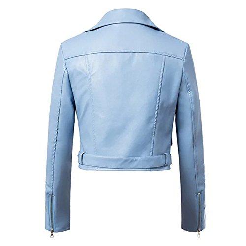 Femmes Femmes Vêtements Moto Brodé Ibaste Bleu Style Veste Court Pour Pour Pour CnBqg