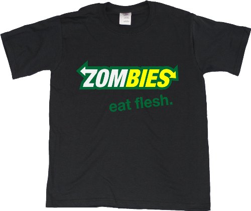 ZOMBIES: EAT FLESH Youth Unisex T-shirt / Funny Subway Spoof Zombie Fan Tee