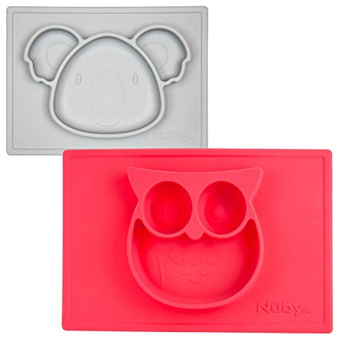 Nuby Sure Grip Miracle Mat, 2 Pack - Red Owl & Gray Koala
