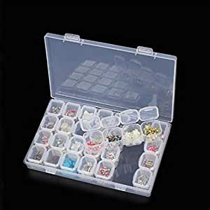 28 Slots Plastic Storage Box Diamond Painting Kits Nail Art Rhinestone Tools Beads Storage Box Case Organizer Holder