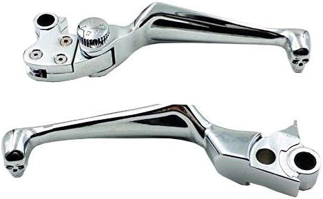 Black Chrome Skull Adjustable Brake Clutch Lever for Harley Fat Boy Dyna Electra Glide Cruiser