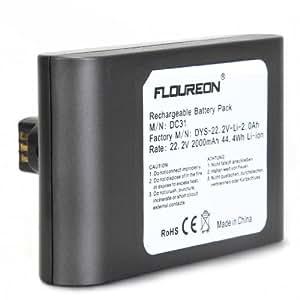 FLOUREON Dyson DC31 aspiradora batería 22.2V 2000mAh Li-ion gris