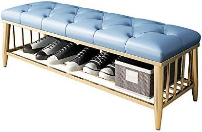玄関 収納付き ベンチ 金属は、ソファのクッションシューズラック収納ガントリ現代の靴の入口を張り 省スペース おしゃれ (Color : White, Size : 80x35x45cm)
