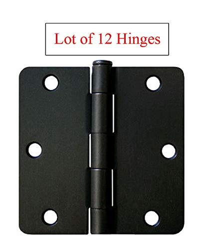 12 Matte Black 3.5'X3.5' Inch Door Hinges 1/4' Radius Corner Interior 3'