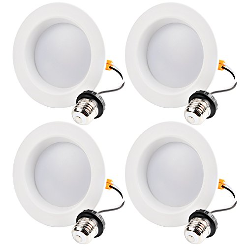 Hykolity 4 Inch LED Recessed Downlight, 10W 700LM Dimmable Retrofit Recessed Can Downlight, 3000K Warm White, Damp Location, 50W BR20/ 65W BR30 Replacement- 4 Pack