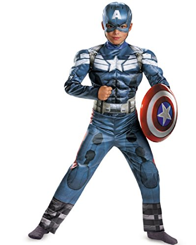 Disguise Marvel Captain America The Winter Soldier Movie 2 Captain America Classic Muscle Boys Costume, Medium (New Captain America Costumes)