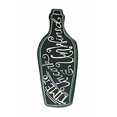 Creative Co-Op Wine Bottle Shaped Time to Uncork and Unwined Wall Decor