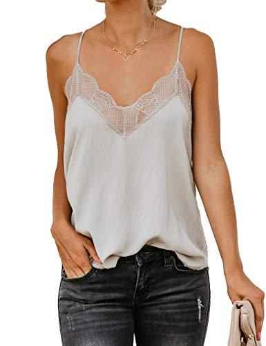 Trim Mesh Cami Lace - Apricot Women V Neck Basic Blouse,Lace Camisole Sleeveless Shirt Spaghetti Strap Satin Tops L