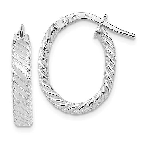 14k Patterned Hoop Earrings - 14K White Gold Patterned Oval Hoop Earrings from Roy Rose Jewelry