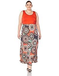 466edf0090 Womens Summer Contrast Sleeveless Tank Top Floral Print Maxi Dress