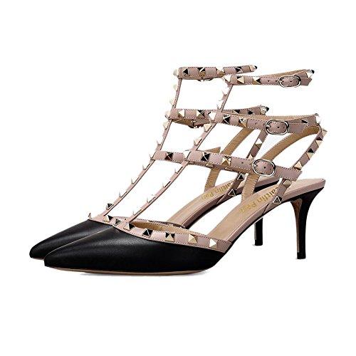 Punta a Donna Strap Dress Cinturino Black Slingback Sandali Borchie con con Pan Matte Stud Heel Gold Caitlin Studs Nude Punta Kitten qEftq5