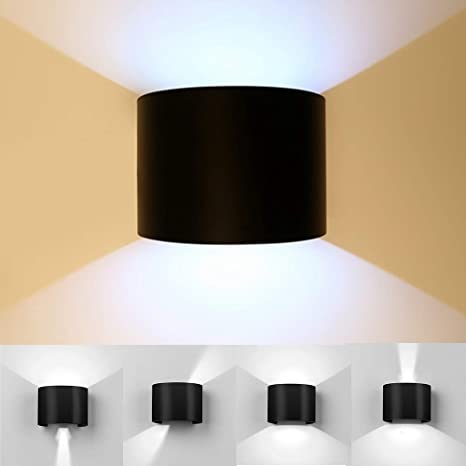 Maxmer LED Wall Light Sconce 12W Modern Adjustable Beam Angle Wall Lighting IP68 Waterproof Up Down Outdoor Wall Lamp, Cool White
