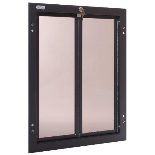 PlexiDor Performance Pet Doors for Dogs and Cats – Door Mount Dog Door with Lock and Key – Bronze, Multiple Sizes