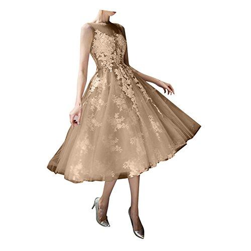 Champagner La A Tuell Abendkleider Wadenlang Linie Prinzess Braut Spitze Ballkleider Rock Kurz Abiballkleider Promkleider mia qqwnrPxW6