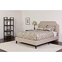 Flash Furniture Brighton Tufted Upholstered Full Size Platform Bed in Beige Fabric-P