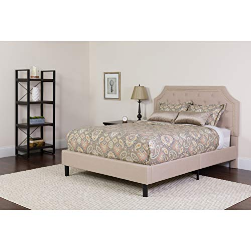 Flash Furniture Brighton Queen Size Tufted Upholstered Platform Bed in Beige Fabric (Queen Fabric Beds)