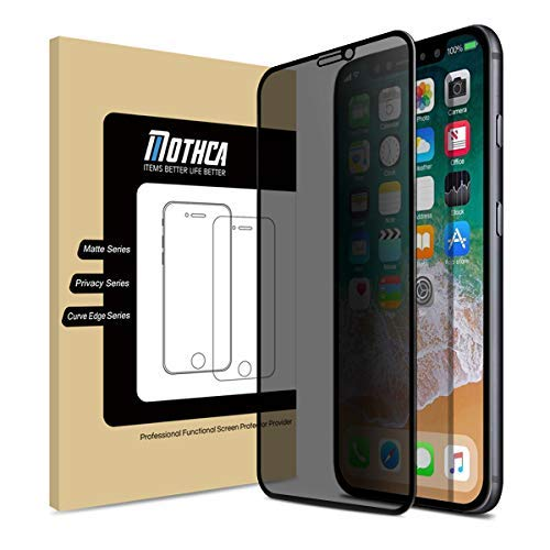 Mothca Screen Protector Privacy Compatible with iPhone Xs/iPhone X [Full Screen][Case Friendly] Anti-Spy Tempered Glass Film 3D Touch 9H Hardness Glass Screen Guard Anti-Scratch Bubble - Dust Scratch Anti Guard
