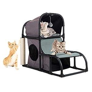 CO-Z Árbol Gatos Casa para Gatos Casetas y Condominios Multifuncional Estable de Tela Oxford con Cama /Escalera…