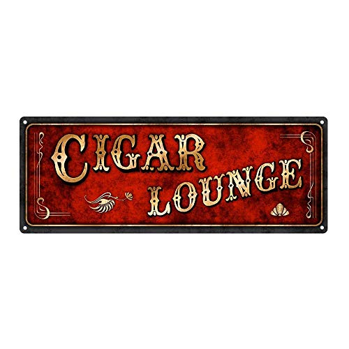 Tin Sign 8X12 inches Red Cigar Lounge Metal Sign