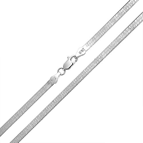 4mm thick solid sterling silver 925 Italian Herringbone chain necklace bracelet anklet with lobster claw clasp jewelry - 15, 20, 25, 30, 35, 40, 45, 50, 55, 60, 65, 70, - Anklet Herringbone
