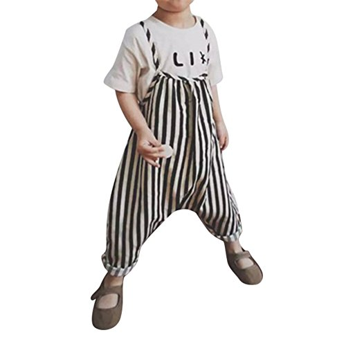 ESHOO Baby Girls Stripe Romper Harem Pants Jumpsuit Playsuit, Cotton Bodysuit Overalls Pants Outfits (Toddler Stripes Bib)