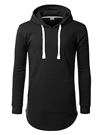 URBANCREWS Mens Hipster Hip Hop Pullover eLong Hoodie Jacket BLACK SMALL