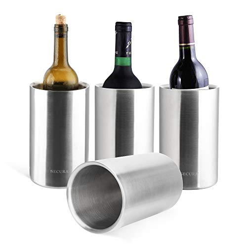Secura 4 Pieces Wine Cooler Bucket Set | 18/8 Stainless Steel Double Wall Wine Bottle Chiller Champagne Ice Buckets