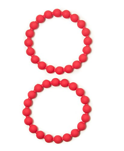 Coil Bead (Fidget Jewelry Food Grade Silicone Bead Bracelets - Fun Sensory Motor Aid - Speech And Communication Aid - Great For Autism And Sensory-Focused Kids - 2 Red Bracelets)